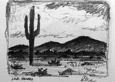 Lone Saguaro | Pencil Sketch