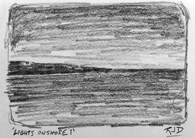 Lights Onshore 1 | Pencil Sketch