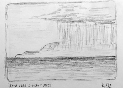 Rain Over Distant Mesa | Pencil Sketch