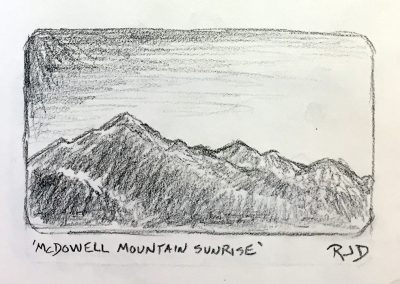 McDowell Mountain Sunrise | Pencil Sketch