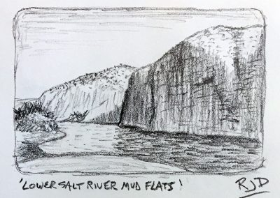 Lower Salt River Mud Flats | Pencil Sketch