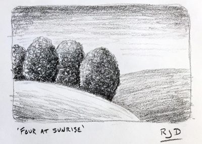 Four at Sunrise | Pencil Sketch