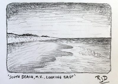 South Beach, M.V., Looking East | Pencil Sketch