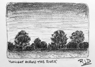 Twilight Across the River | Pencil Sketch