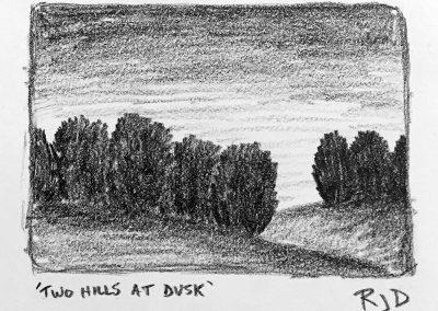 Two Hills at Dusk | Pencil Sketch