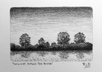 Twilight Across the River | Pencil | 9x12