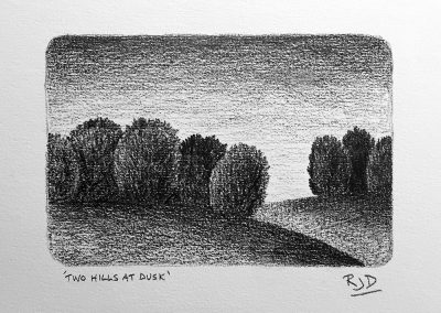 Two Hills at Dusk | Pencil | 9x12