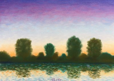Twilight Across the River | Pastel | 9x12