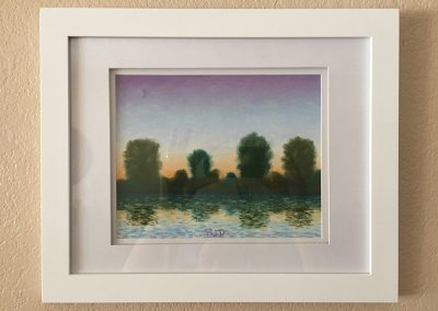 Twilight Across the River | Pastel - Framed | 9x12
