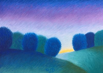 Two Hills at Dusk | Pastel | 9x12