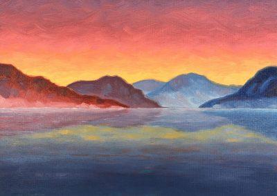 Bartlett Lake — Dusk | Oil on Panel | 8x10