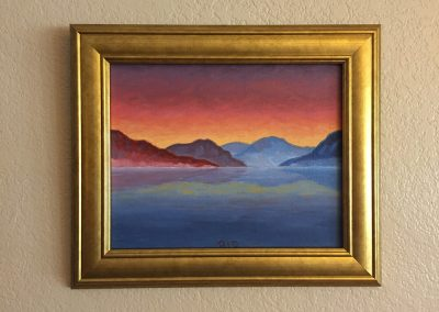 Bartlett Lake — Dusk | Oil on Panel - Framed | 8x10