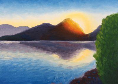 Saguaro Lake Sunrise | Oil on Panel | 8x10
