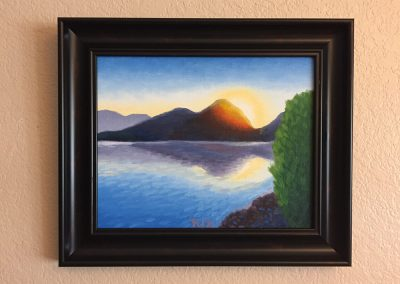 Saguaro Lake Sunrise | Oil on Panel - Framed | 8x10