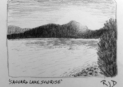 Saguaro Lake Sunrise | Pencil Sketch