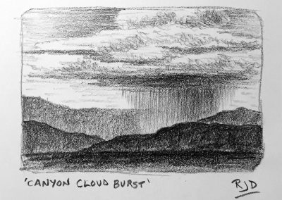 Canyon Cloud Burst | Pencil Sketch