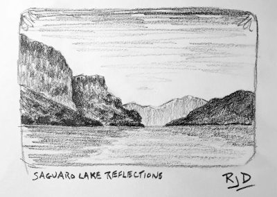 Saguaro Lake Reflections | Pencil Sketch