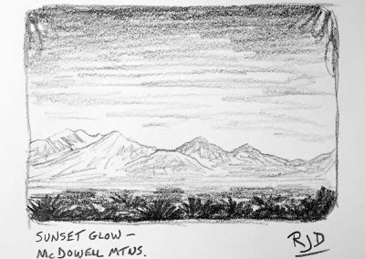Sunset Glow — McDowell Mountains | Pencil Sketch