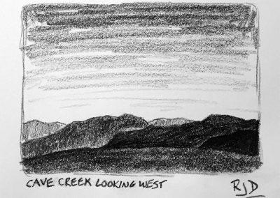 Cave Creek Looking West | Pencil Sketch