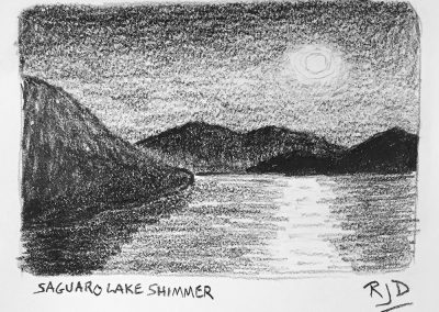 Saguaro Lake Shimmer | Pencil Sketch