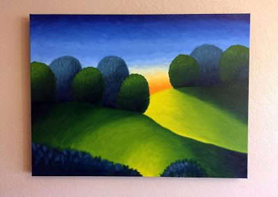 Two Hills at Dusk | Oil on Canvas | 18x24
