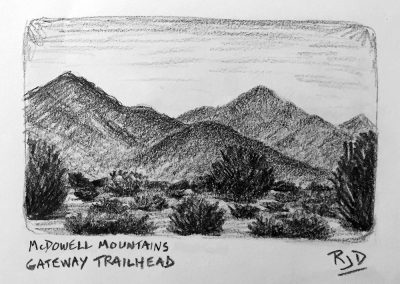 McDowell Mountains Gateway Trailhead | Pencil Sketch