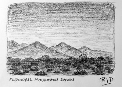 McDowell Mountain Dawn | Pencil Sketch