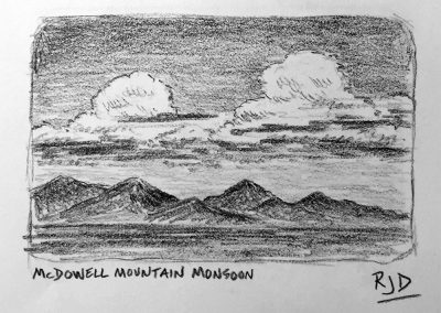 McDowell Mountain Monsoon | Pencil Sketch