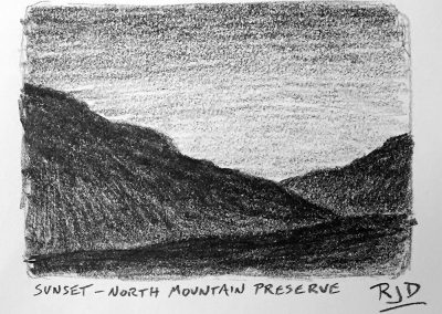 Sunset — North Mountain Preserve | Pencil Sketch