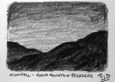 Nightfall — North Mountain Preserve | Pencil Sketch