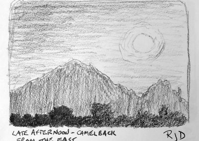 Late Afternoon — Camelback Mountain from the East | Pencil Sketch