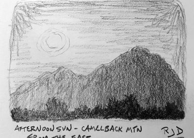Afternoon Sun — Camelback Mountain from the East | Pencil Sketch