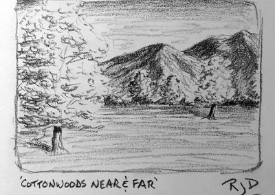 Cottonwoods Near and Far | Pencil Sketch